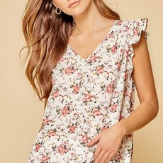 Andree by Unit Ivory Floral Flutter Sleeve Top (S-3XL)
