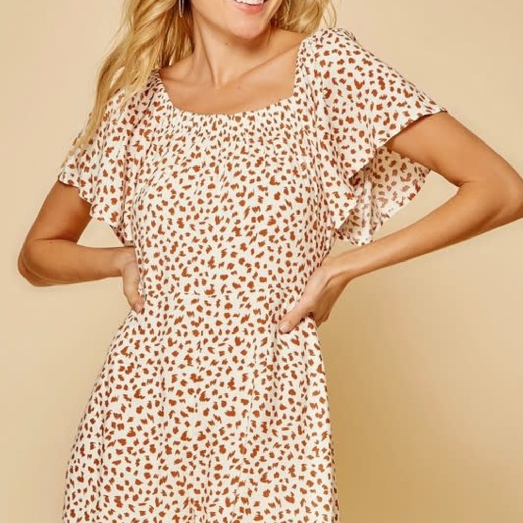 Andree by Unit Cream Camel Leopard Romper (S-3XL)
