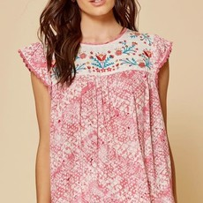Andree by Unit Pink Embroidered Blouse (S-3XL)
