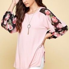 Emerald Collection Blush Floral Chiffon Top (S-3XL)