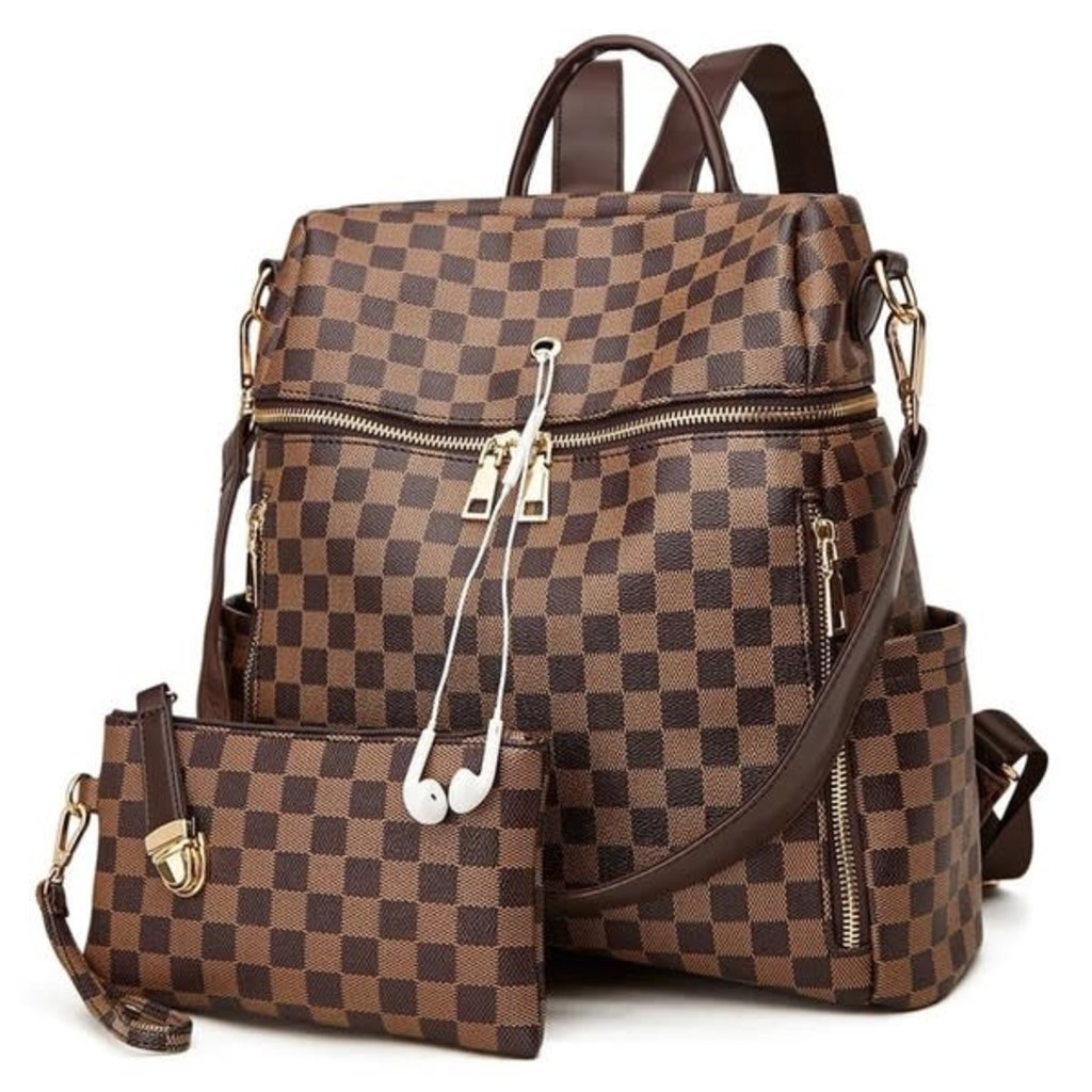 Dani & Em Brown Inspired Checker Backpack with Wristlet
