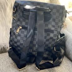 Dani & Em Black Inspired Checker Backpack with Wristlet
