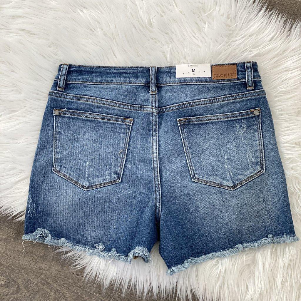 Judy Blue Judy Blue High Rise Daisy Patch Shorts (S-XL)