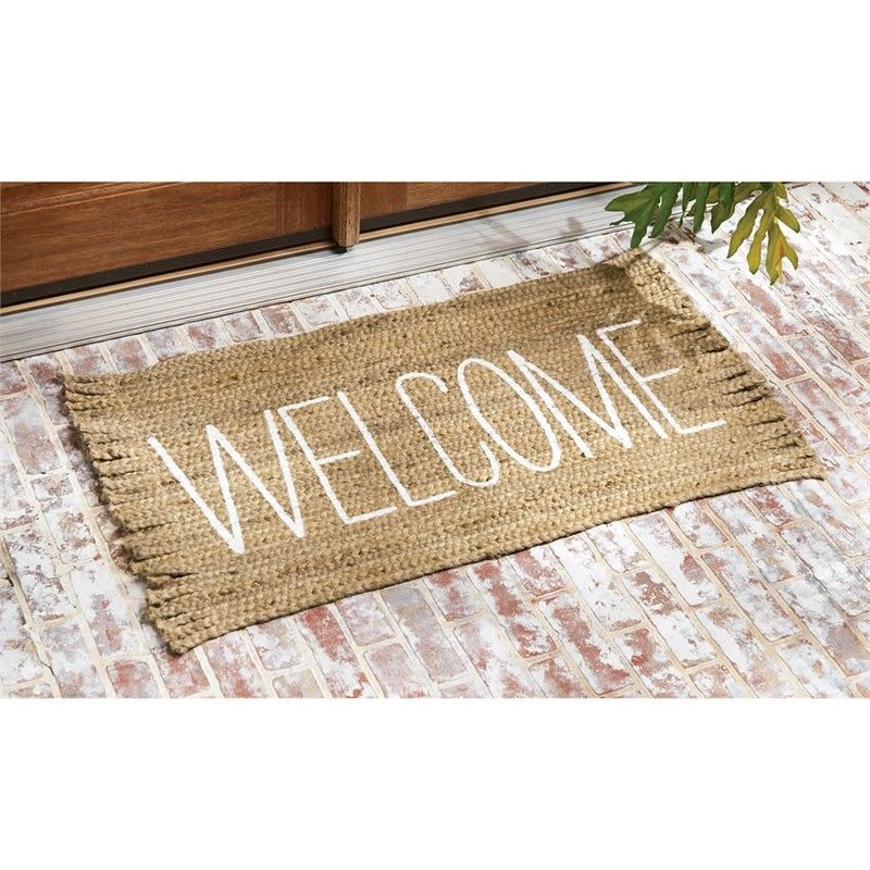 Mud Pie Mud Pie Welcome Fringe Jute Door Mat