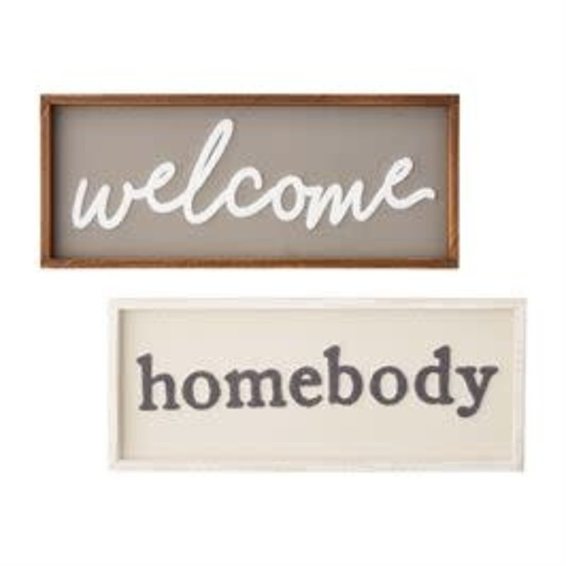 Mud Pie Mud Pie Welcome & Homebody Boucle Plaques