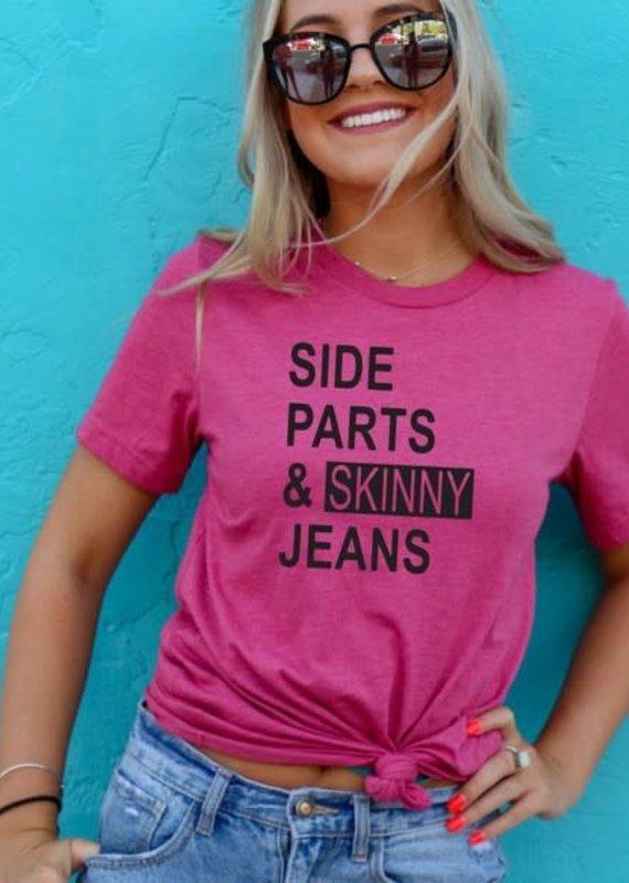 Ocean & 7th Raspberry Side Parts & Skinny Jeans Tee (XS-3XL)