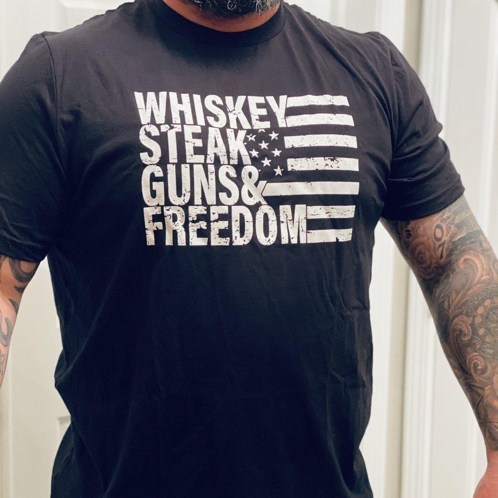 Ocean & 7th Whiskey Steak Guns Freedom Unisex Tee (S-3XL)
