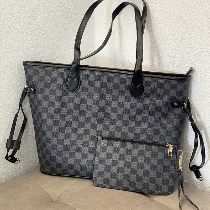 Dani & Em Black Checker Inspired Tote