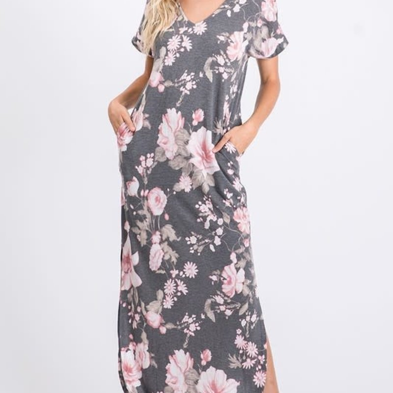 GeeGee Charcoal Pink Floral Maxi with Pockets (S-3XL)