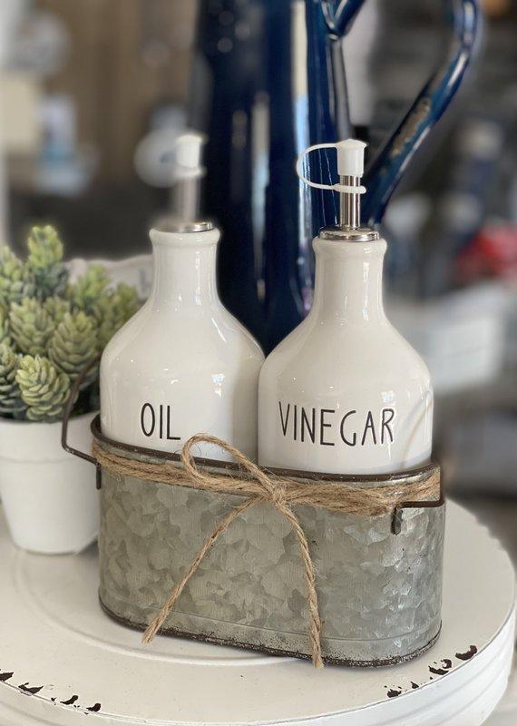 Audrey's Ceramic Oil & Vinegar Cruets with Galvanized Caddy