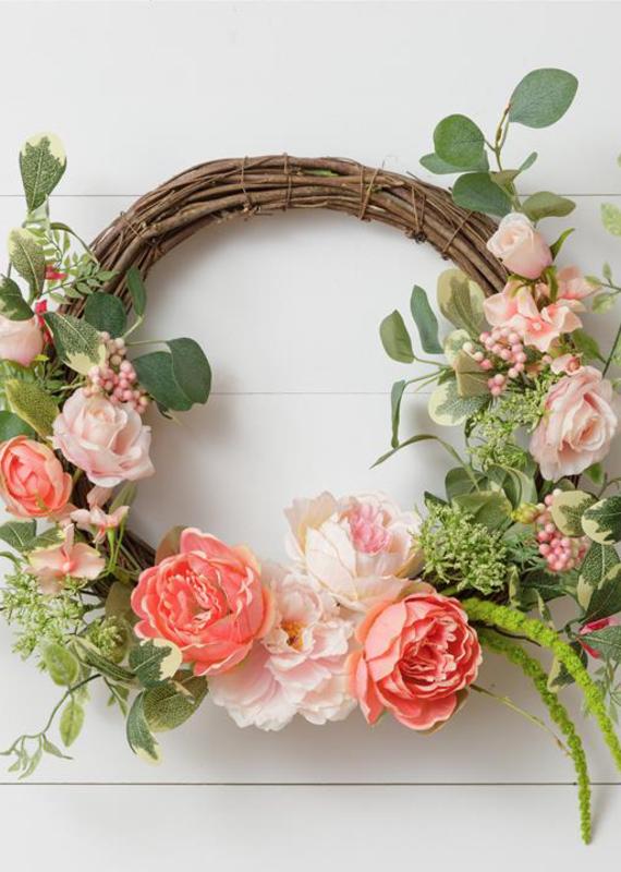 Audrey's Peach Floral Foliage Wreath