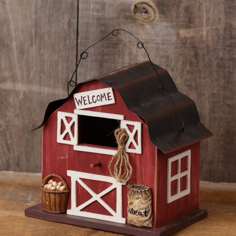 Audrey's Red Barn Welcome Birdhouse