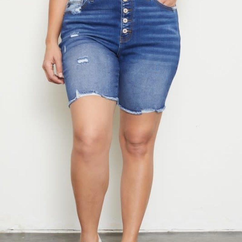 KanCan KanCan High Rise Button Down Skinny Shorts (S-3XL)