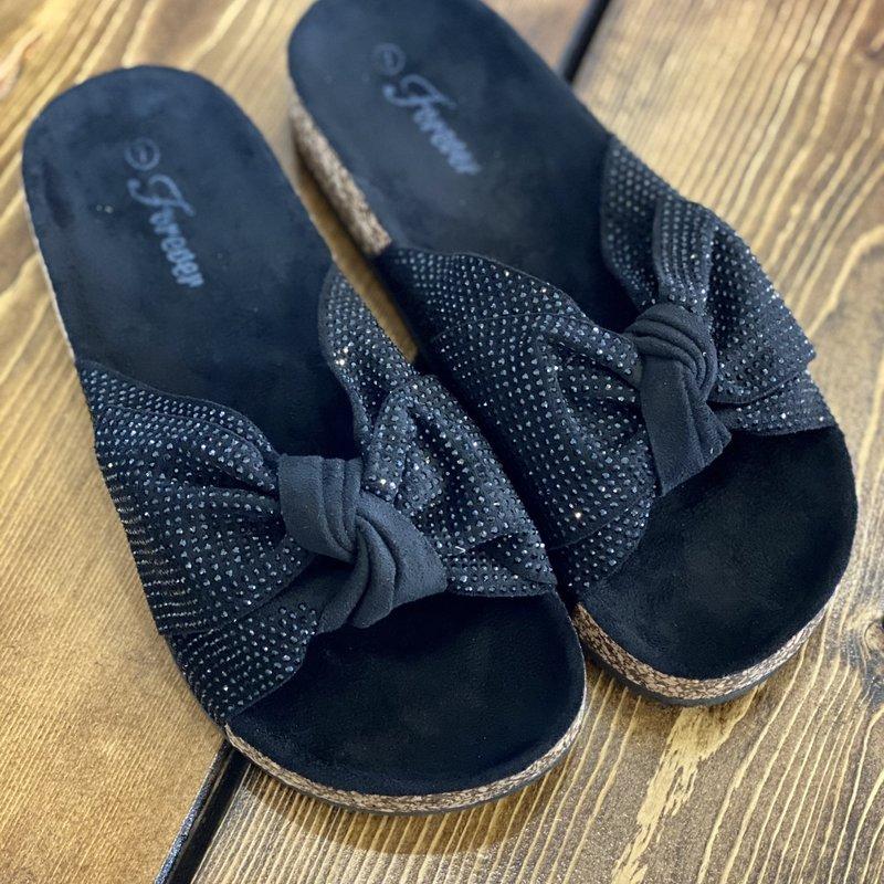 Forever Black Bowtie Rhinestone Sandals (6-10)