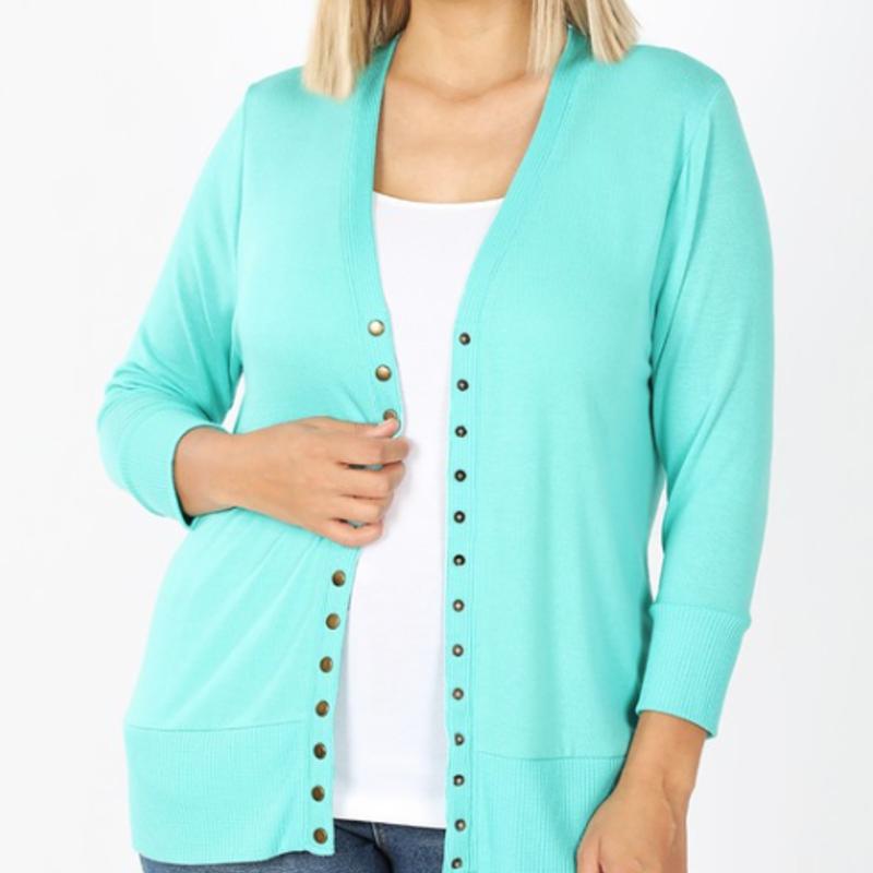 Zenana Mint Quarter Sleeve Snap Cardigan (S-3XL)