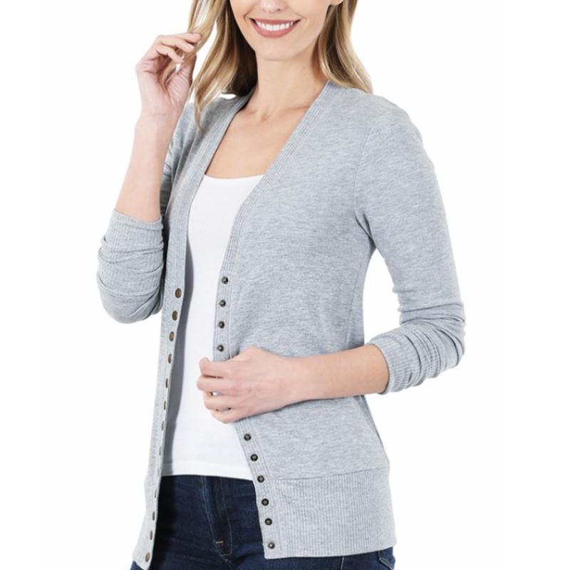 Zenana Light Grey Snap Cardigan (S-XL)