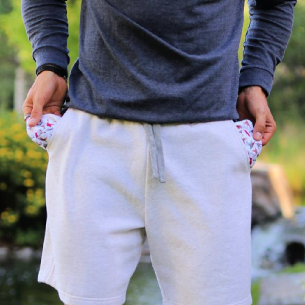 Burlebo Burlebo Oatmeal Fleece Duck Pocket Shorts (M& XL)