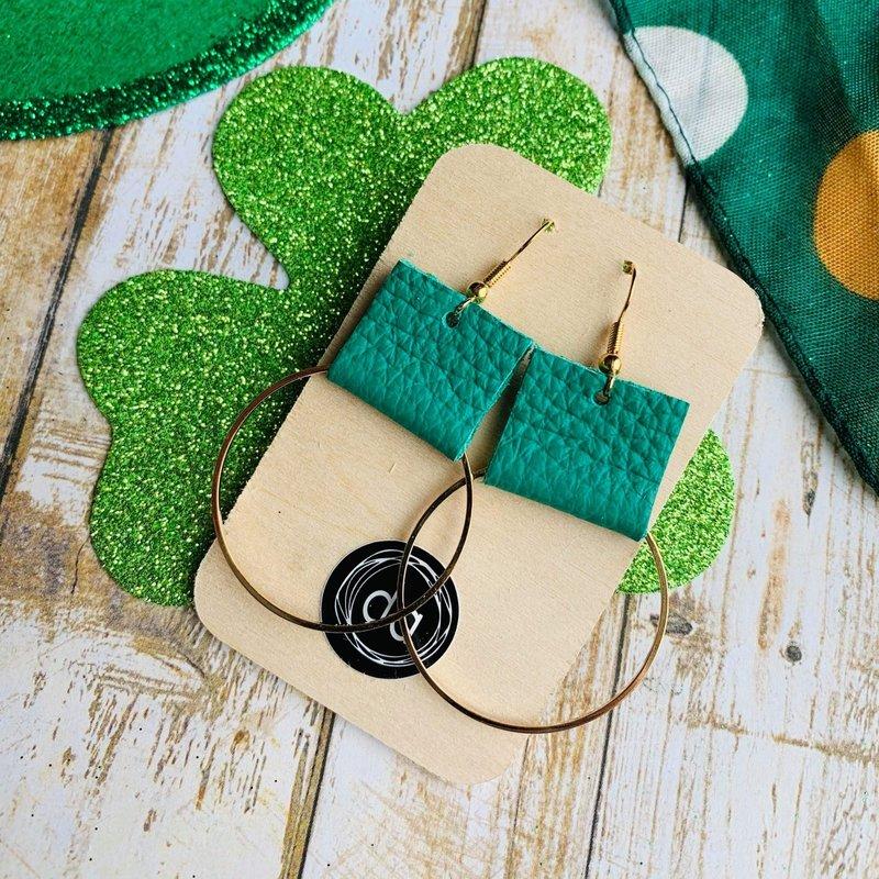 Deer Addie Deer Addie Gold Hoop Green Leather Earrings