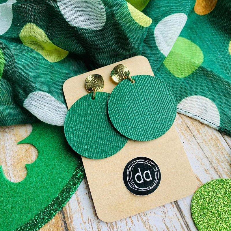 Deer Addie Deer Addie Round Green Leather Earrings