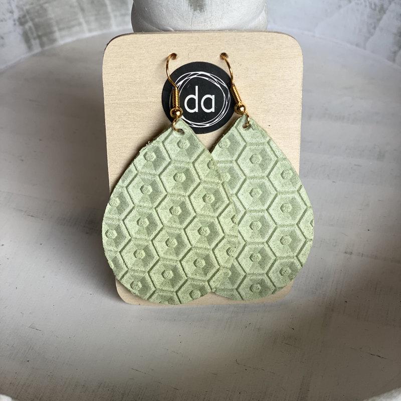 Deer Addie Deer Addie Green Honeycomb Leather Earrings