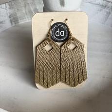 Deer Addie Deer Addie Gold Tassle Leather Earrings