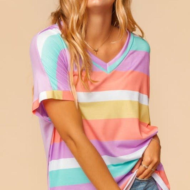 Haptics Lavender Summer Stripe Hi-Lo Top (S-3XL)