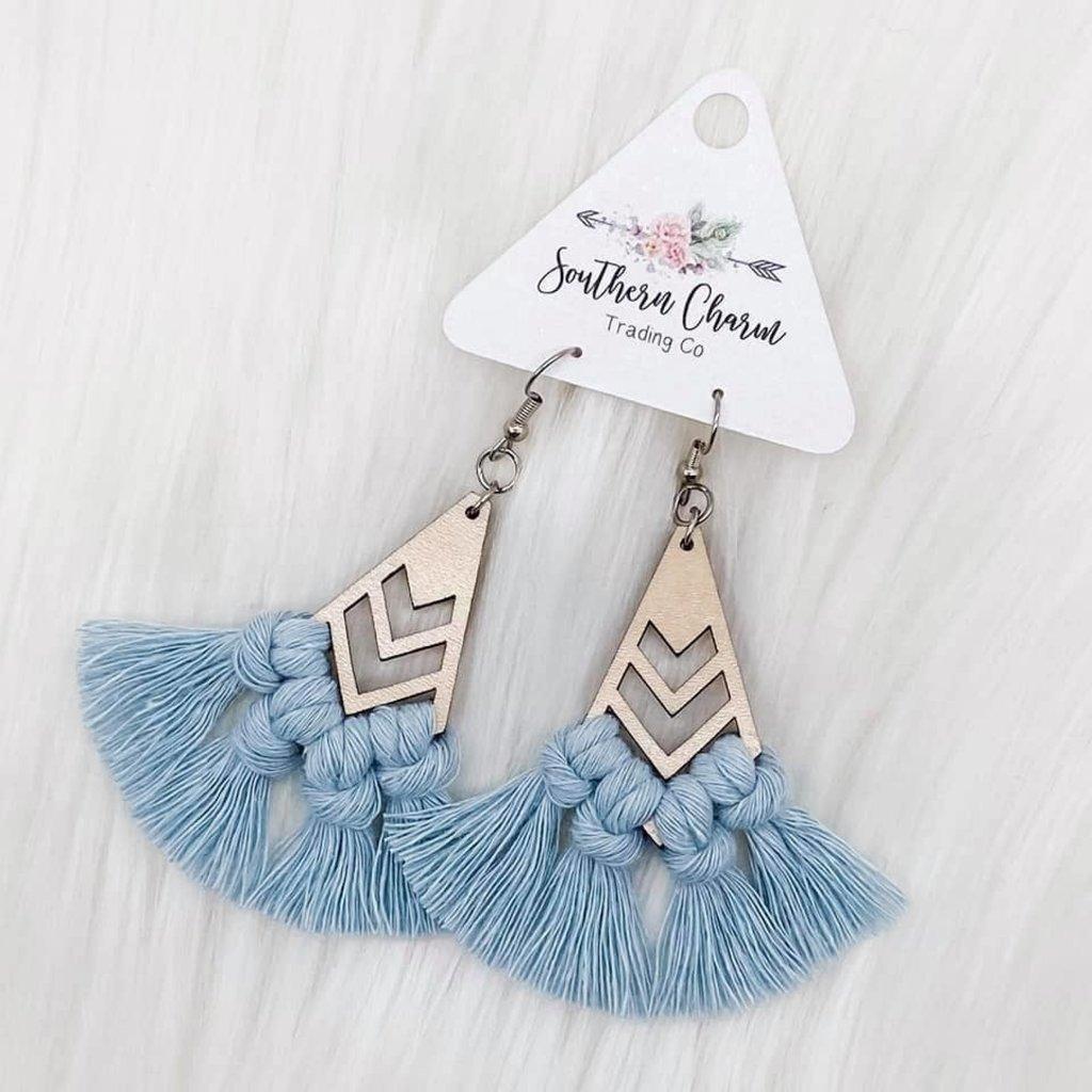 Southern Charm Trading Co Misty Blue Wood Macrame Earrings