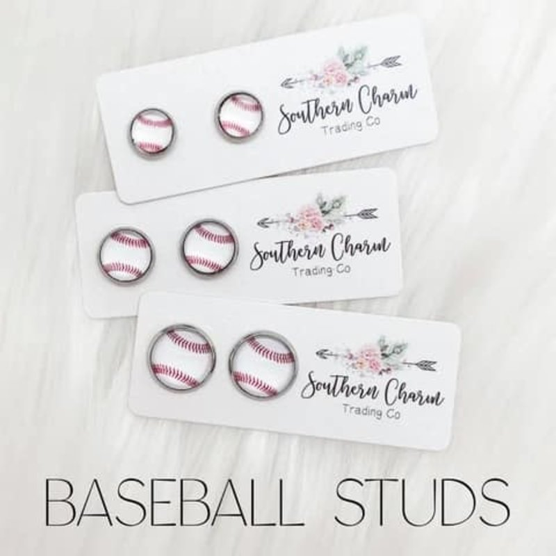 Southern Charm Trading Co Baseball 12mm Earrings (Largest)
