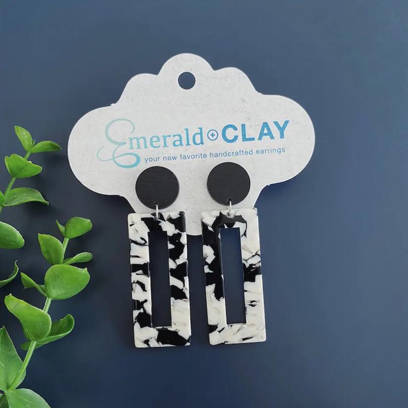 Emerald + Clay Black White Camo Acrylic Wood Earrings