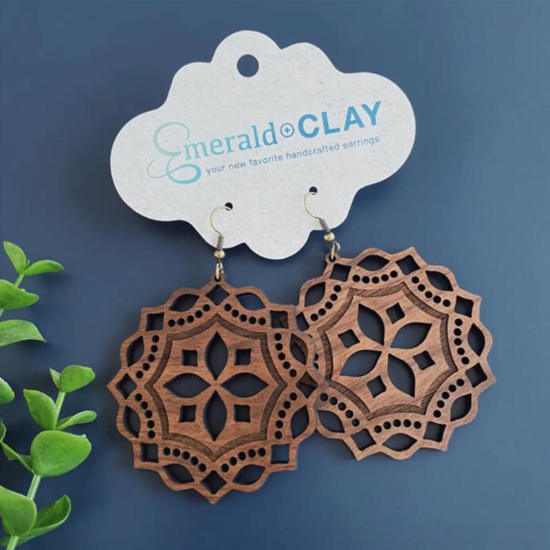 Emerald + Clay Mandala Black Walnut Wood Silver Earrings
