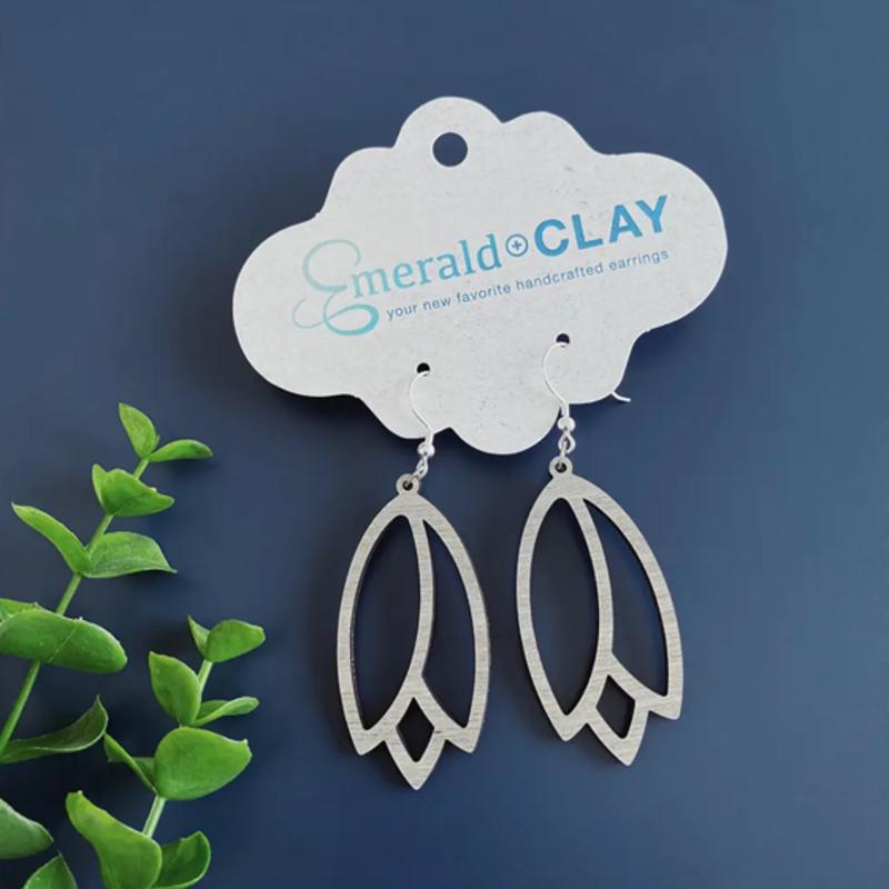 Emerald + Clay Tulip White Wash Silver Wood Earrings