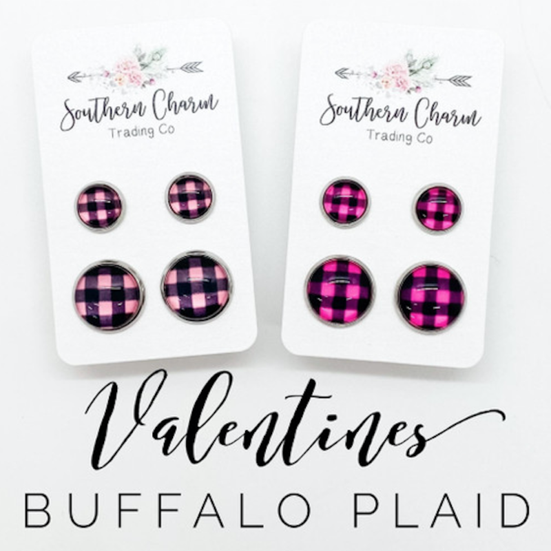 Southern Charm Trading Co Mommy & Me Pink Plaid Earrings