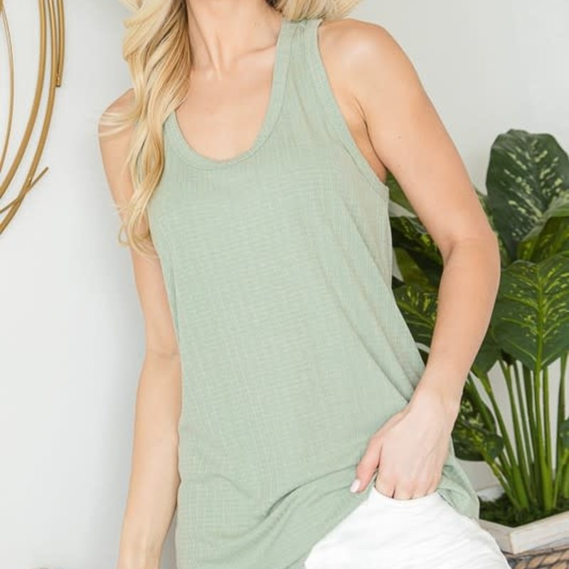 First Love Desert Sage Ribbed Racerback Tank (S-L)