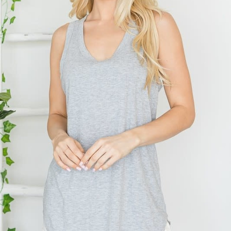 First Love Heather Gray Ribbed Racerback Tank (S-L)