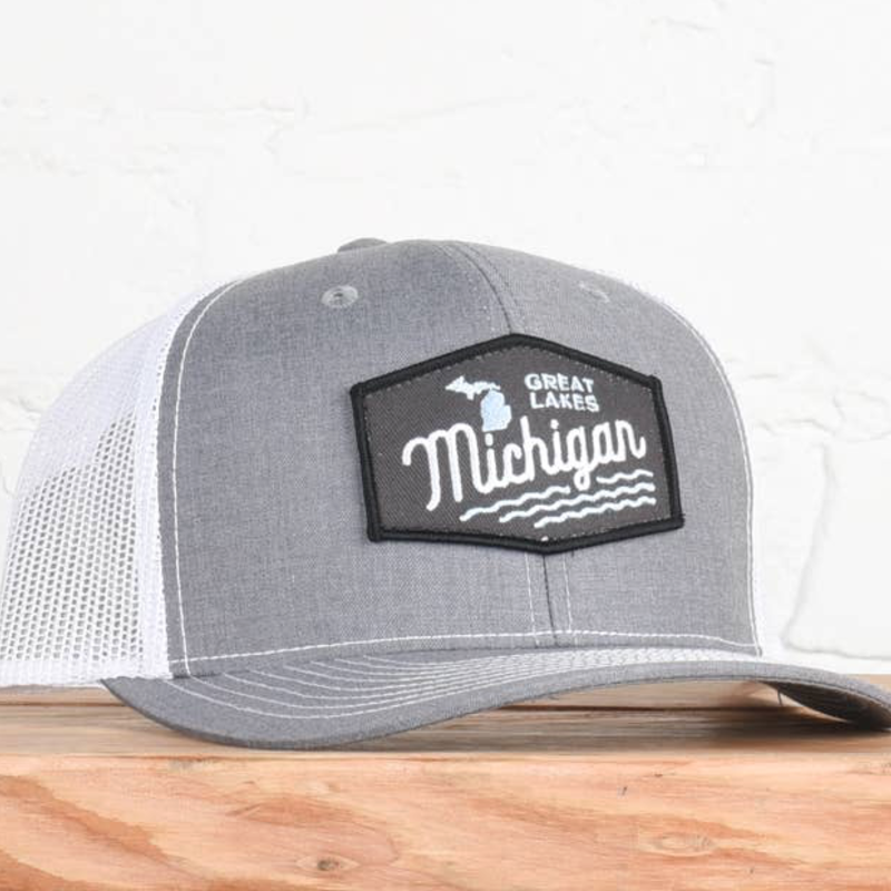 Classic State Michigan Great Lakes Grey White Snapback Hat