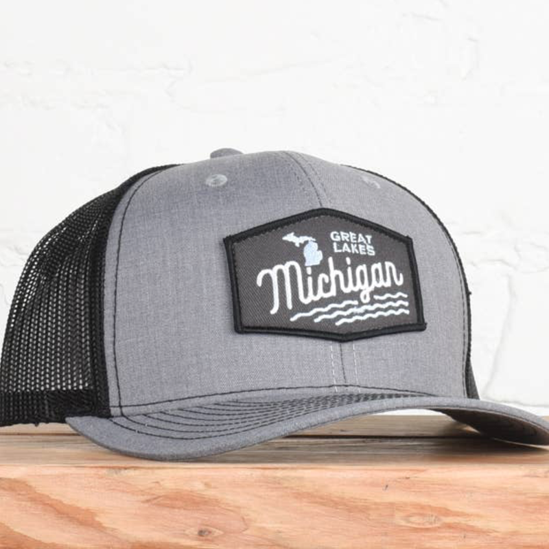 Classic State Michigan Great Lakes Gray/Black Snapback Hat