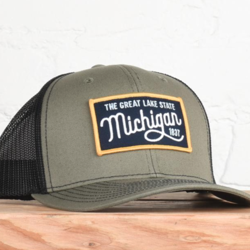 Classic State Michigan Great Lakes Olive Snapback Hat