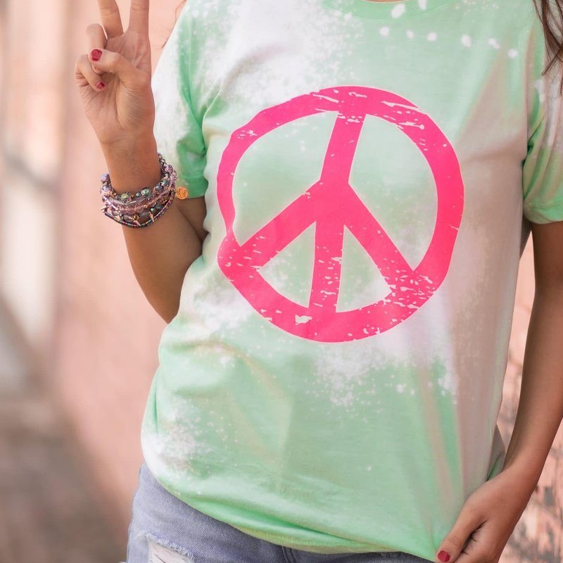 Tultex Lime Distressed Peace Sign Tee (Large & 3XL Only)