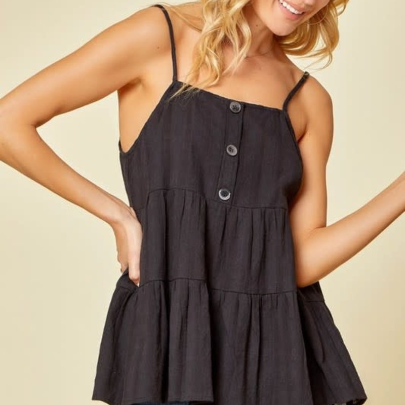 Andree by Unit Black Button Tiered Tank (S-L)