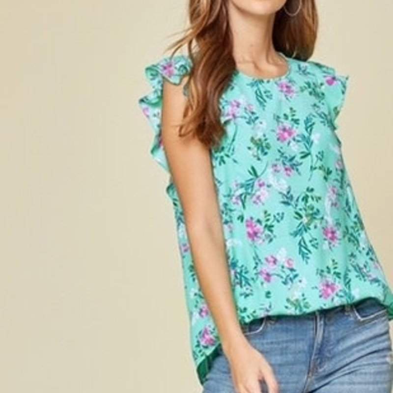 Andree by Unit Mint Floral Flutter Sleeve Top (1XL-3XL)