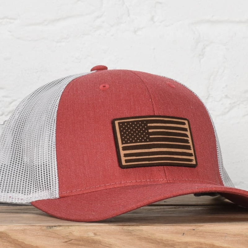 Classic State Red Birch American Flag Snapback Hat