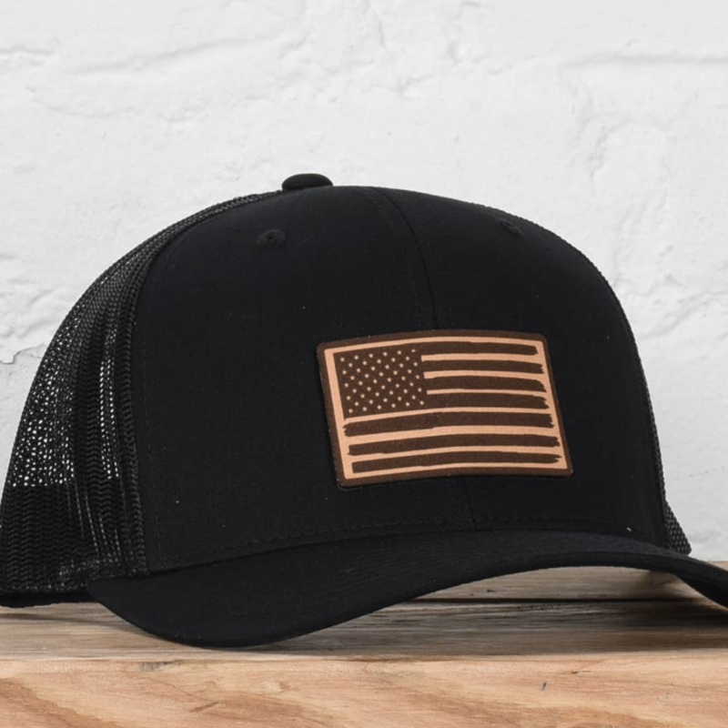 Classic State Black American Flag Snapback Hat