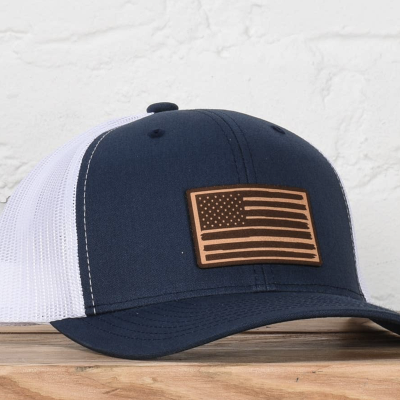 Classic State Navy White American Flag Snapback Hat
