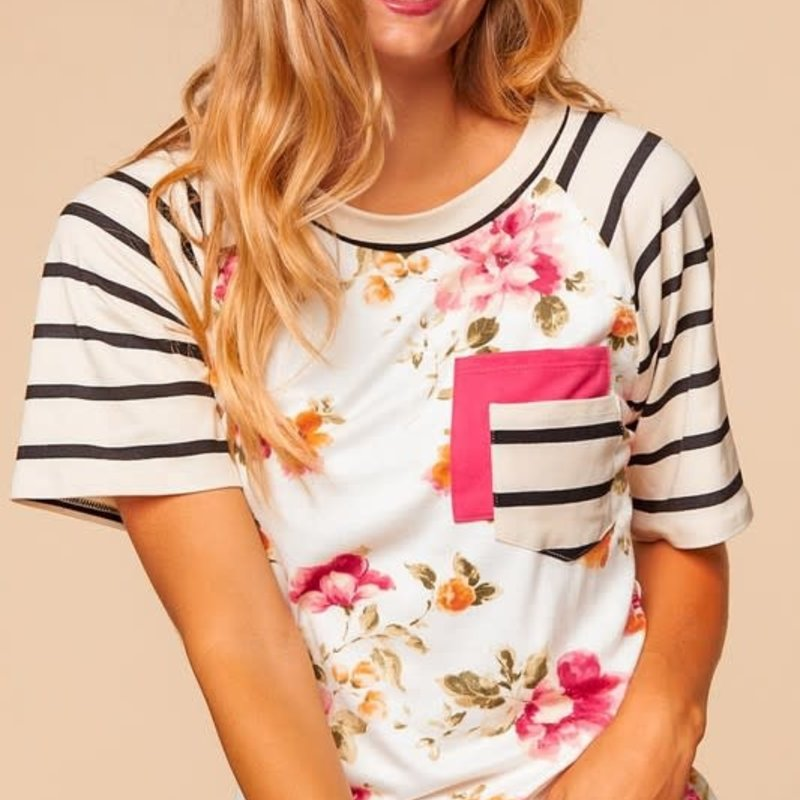 Haptics Ivory Coral Stripe & Floral Top (S-3XL)