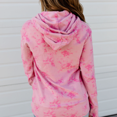 AMPERSAND AVE Pink Tie-Dye Half-Zip Hoodie - Ampersand Ave (2XL & 3XL Only)