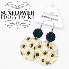 Southern Charm Trading Co Black & White Sunflower Cork Earrings