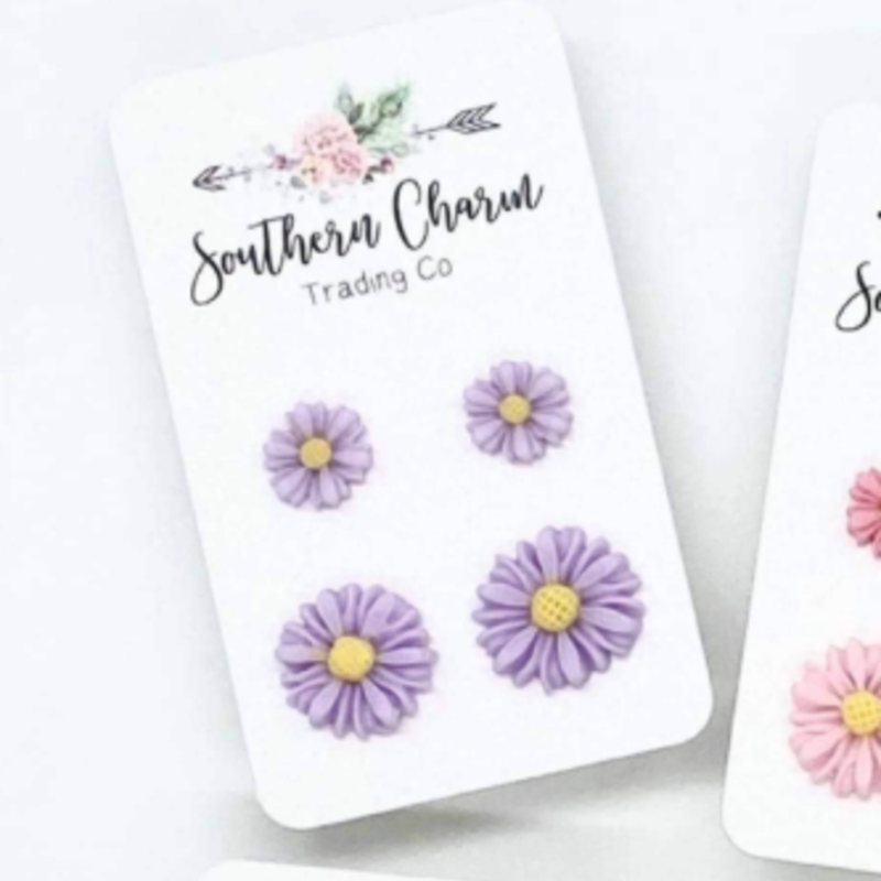 Southern Charm Trading Co Mommy & Me Lilac Daisy Earring Set