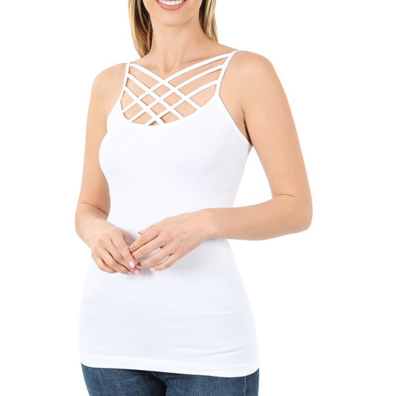 Zenana White Criss Cross Cami (S-XL)
