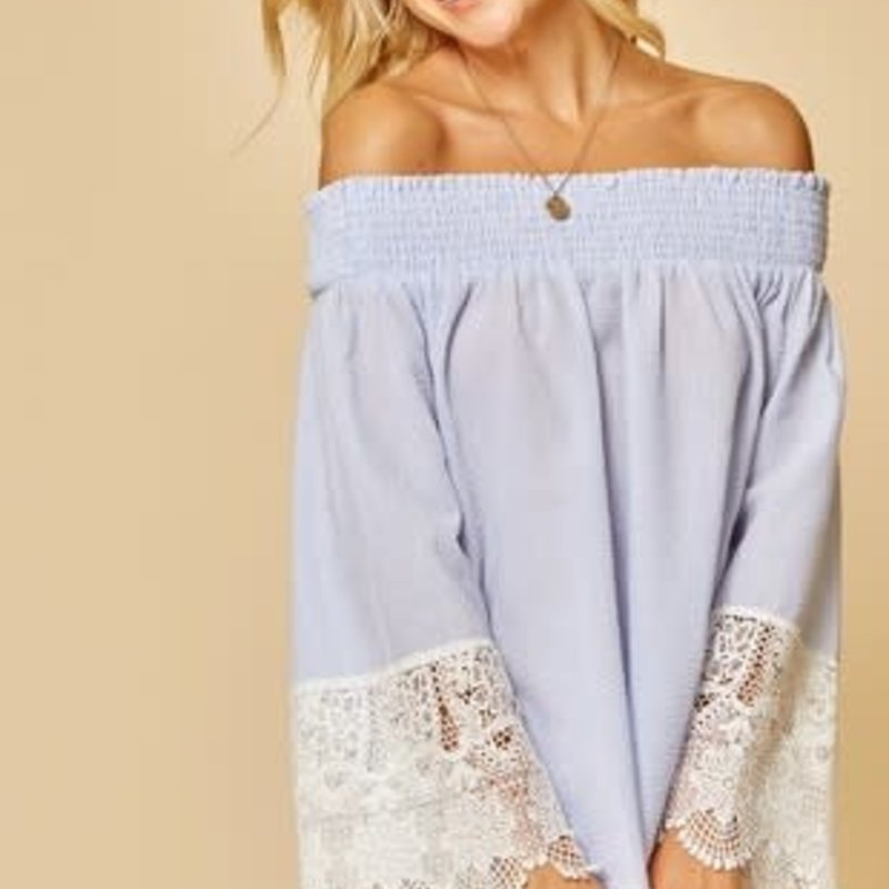 Andree by Unit Sky Blue Smocked Lace Top (1XL-3XL)