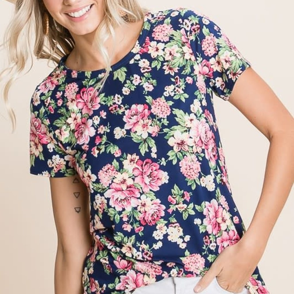 BomBom Navy Floral Top (S-XL)